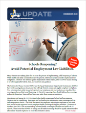 2020 Q4 SLRMA Newsletter - Schools Reopening? Avoid Potential Employment Law Liabilities.