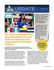 2014 Q4 SLRMA Newsletter - Are Your Enrollment Policies Regarding Undocumented Students Subjecting Your School District to Potential Liability?